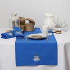"""Дорожка на стол """"Этель"""" Новогодние колокольчики, 140х40 цвет синий, с ВМГО хл, 200 гр/м²"""
