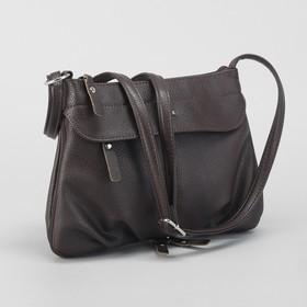Сумка жен 6558, 30*5,5*22, отдел на молнии, 2 н/кармана, длин ремень, коричневый