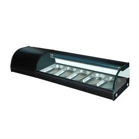 Витрина Gastrorag VRX-SSS1500, для суши, 0 до +6°С, 5 гастроемкостей GN 1/3-25 мм, черный Ош