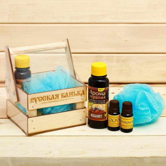 """Банный набор в ящике """"Деревенская банька"""": 2 аромамасла, ароматизатор, мочалка"""