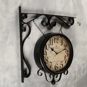 Двойные настенные часы, подвес-цепочка, капелька снизу, чёрные, d=24 см, 46х29 см