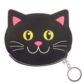 """Брелок кошелек кожзам """"Котёнок чёрный"""" 11х14 см"""