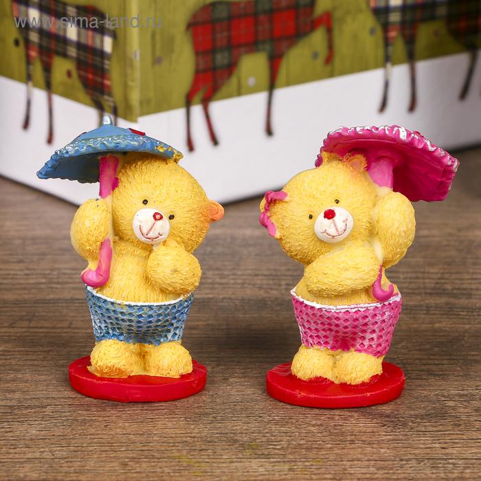 """Сувенир """"Медвежата милые с зонтом"""" набор 12 шт."""