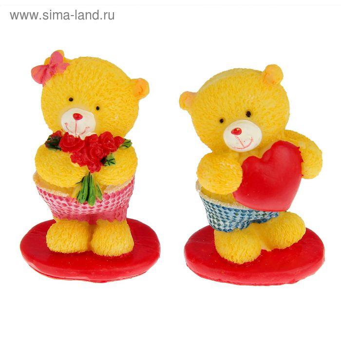 """Сувенир """"Медвежата милые на красной подставке"""" набор 12 шт."""