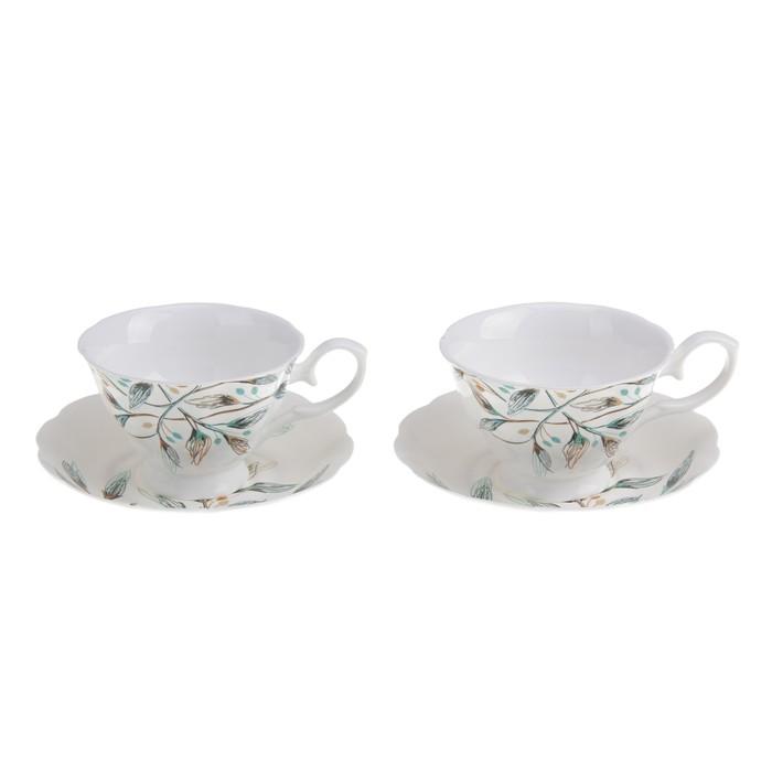 """Набор чайный """"Дуновение ветра"""", 4 предмета: 2 чашки 220 мл, 2 блюдца"""