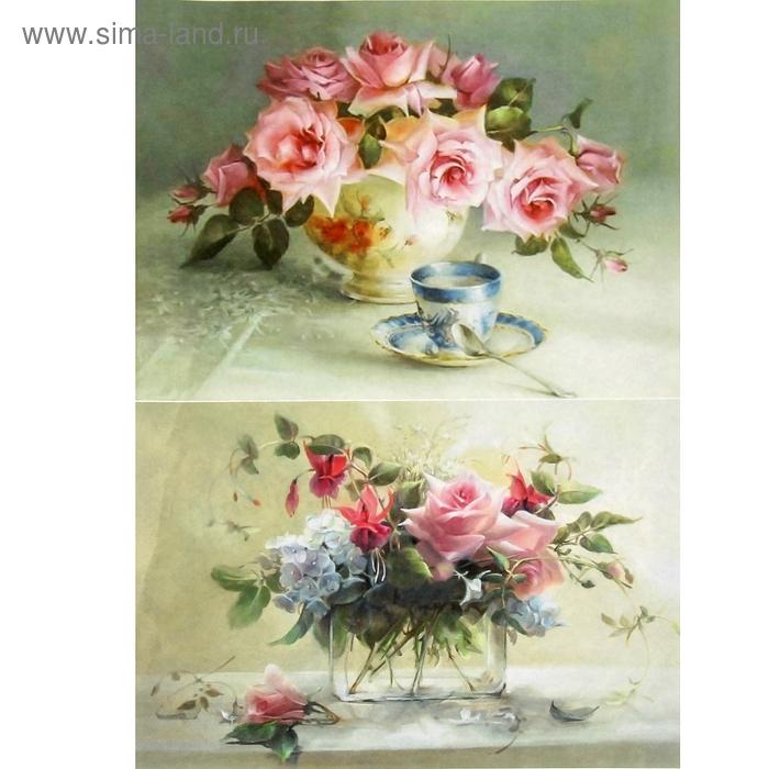 """Декупажная карта """"Розы в прозрачных вазах"""" плотность 45г/м2  формат А4"""