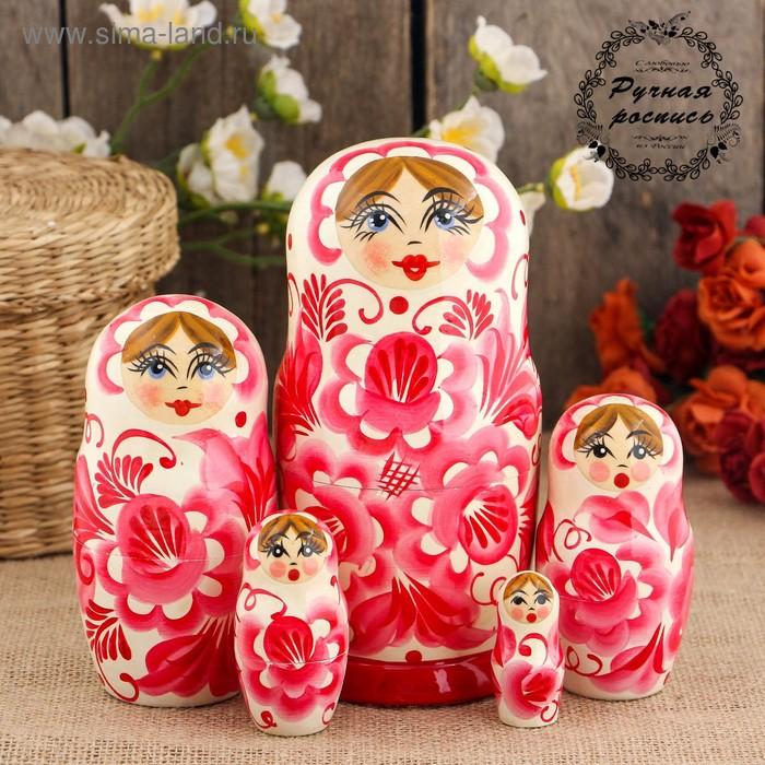 Матрёшка «Красная гжель», белое платье, 5 кукольная, 17 см