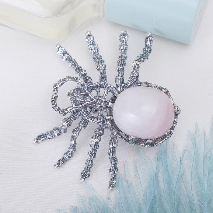 """Брошь паук """"Кварц"""", цвет светло-розовый в серебре 10032-8"""