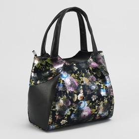 Сумка жен 1204С, 25*13*18, 1 отдел на молнии, н/карман, цветы на черном