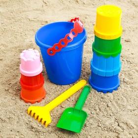 Набор  для игры в песке №3 (Ведёрко+ 7 формочек,1 грабельки ,1 лопатка) Ош