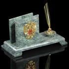 Визитница с гербом, каменные ножки, змеевик