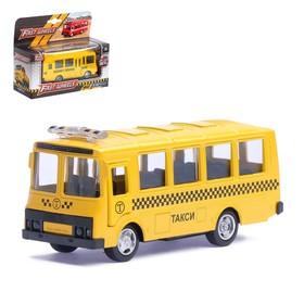 """Автобус металлический """"Такси"""", инерционный, масштаб 1:61"""