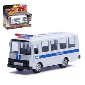"""Автобус металлический """"Полиция"""", инерционный, масштаб 1:61"""