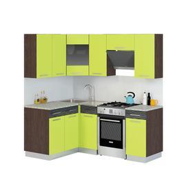 Кухонный гарнитур Алиса угловой 1400х2000 Венге/лайм