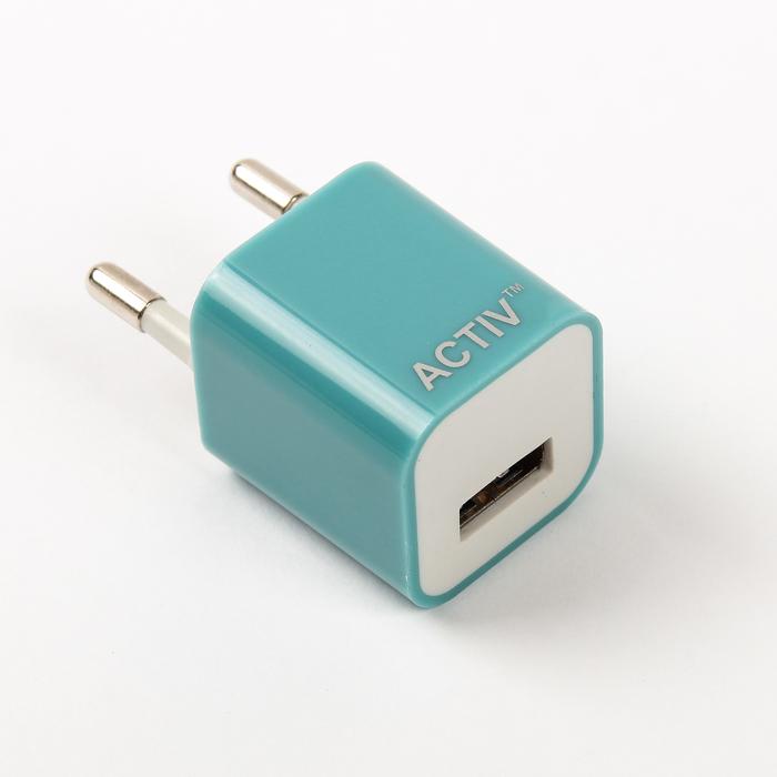 Сетевое зарядное устройство универсальное, USB, 1,5А, синие