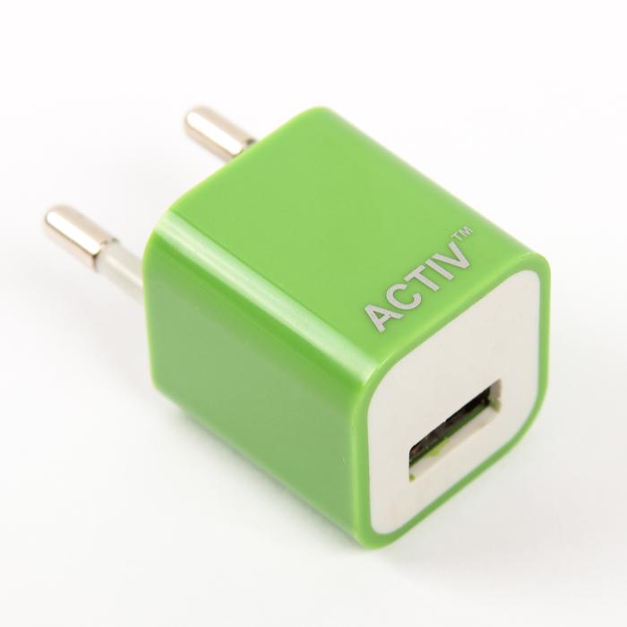 Сетевое зарядное устройство универсальное, USB, 1,5А, зеленое