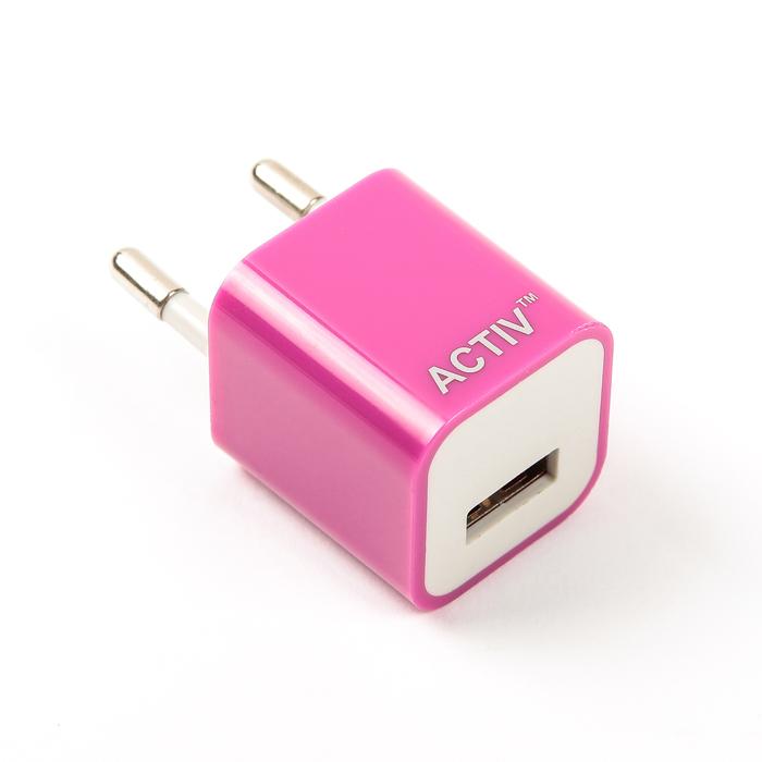 Сетевое зарядное устройство универсальное, USB, 1,5А, цвет пурпурный