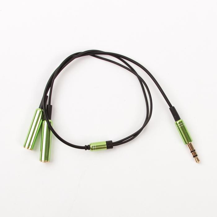 Переходник-разветвитель 3.5 Jack, зеленый