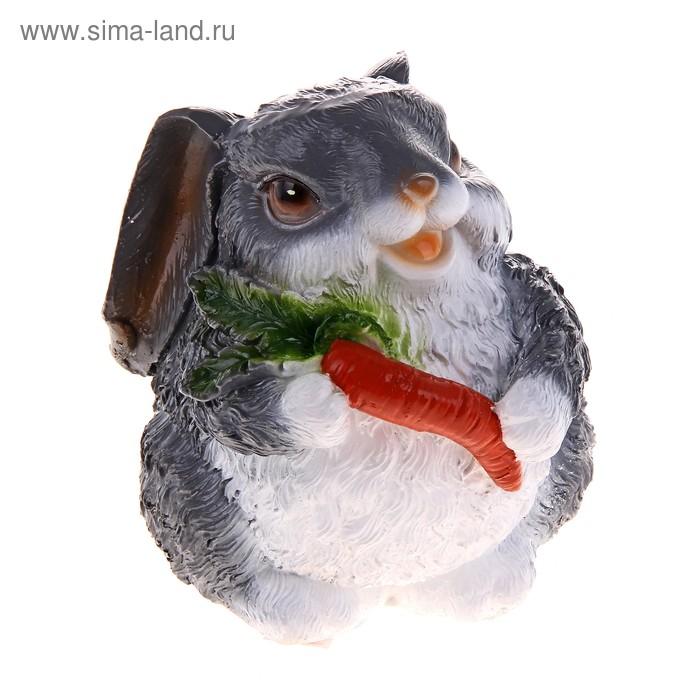 """Копилка """"Зайчик с морковкой"""" серая"""