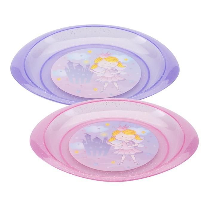 Тарелка детская «Принцесса», диаметр 18 см, для вторых блюд, от 4 мес., цвета МИКС