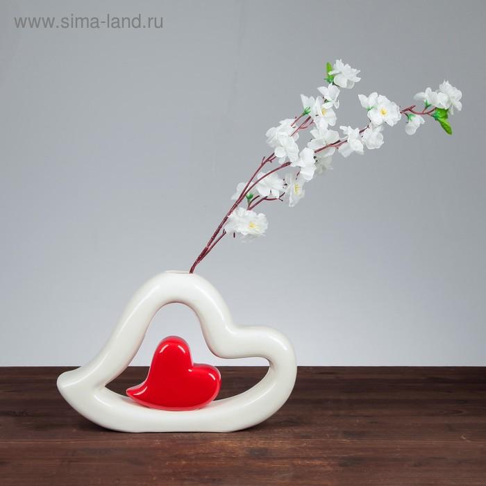 """Ваза """"Сердце в сердце"""" бело-красное"""