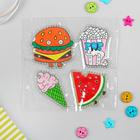 Термоаппликация со стразами «Арбуз, попкорн, бургер, мороженка», 5 × 5 см, 4 шт. на листе, цвет МИКС