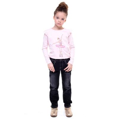 Брюки джинсовые для девочки, рост 122-128 см, цвет чёрный