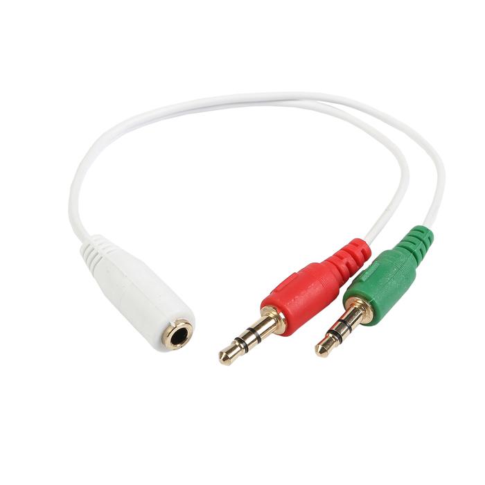 Аудио кабель сигнала Cablexpert, джек3.5 +джек3.5  4pin, 20см, белый