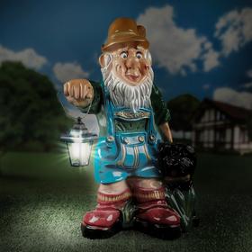 """Садовая фигура """"Гном баварец с собакой и фонарём"""", 66 см"""