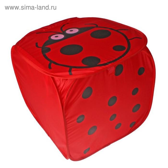 """Корзина для игрушек """"Божья коровка"""" с ручками и крышкой, цвет красный"""