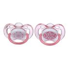 Пустышка силиконовая ортодонтическая, для девочек, от 0 до 6 мес., набор 2 шт.
