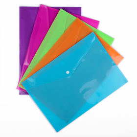 Папка-конверт на кнопке формат А4 180мкр МИКС рефленная