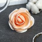 "Декор для творчества ""Бело-оранжевая роза с блестками"" 7х7 см"