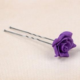 Цветок  на шпильке роза №2 10 шт., цвет фиолетовый Ош