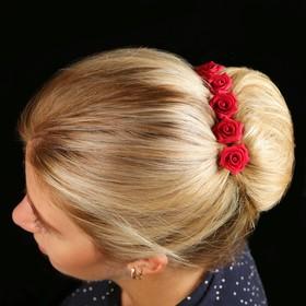 Цветок  на шпильке роза №2 10 шт., красный Ош
