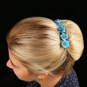Цветок  на шпильке роза №2 10 шт., голубой Ош