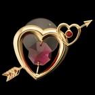 Сувенир «Сердце», на присоске, 2,5х5х4 см, с кристаллами Сваровски