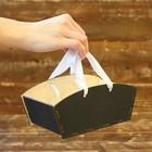 Ящик прямоугольный для цветов, с ручкой, чёрный 19х8х10см