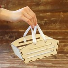 Ящик реечный прямоугольный для цветов, с ручкой, 19х8х10см