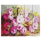 "Картины по номерам на дереве 40х50 ""Корзина с цветами""   GXT7916"