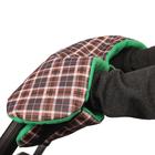 Муфта для рук флисовая, на липучках, цвет клетка/зелёный флис