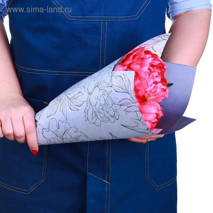 Бумага крафт цветная двусторонняя «Лиловые цветы», 50 х 70 см