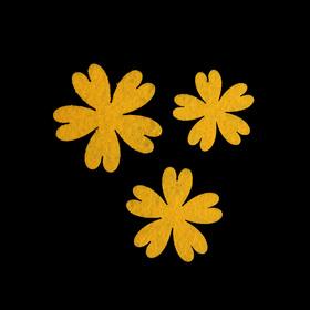 Набор декоративных элементов из фетра на клеевой основе 'Цветы №1' (3 шт) жёлтый Ош