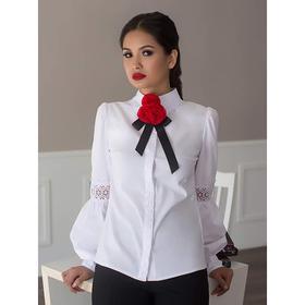 Блуза женская 058, цвет белый, р-р 44, рост 164