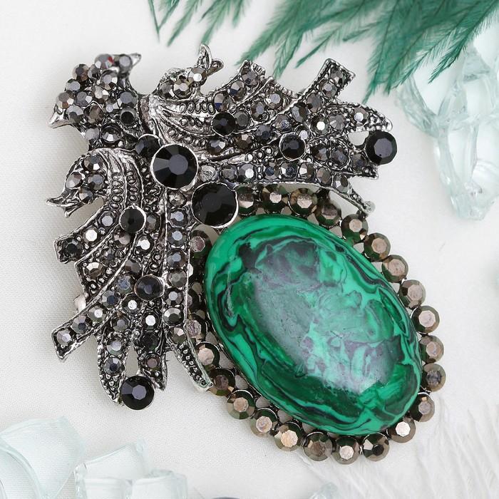 """Брошь-подвеска """"Малахит"""" царица, в чернёном серебре"""
