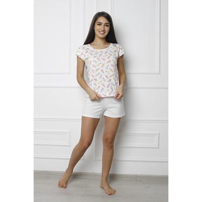 """Пижама женская (футболка, шорты) """"Пломбир Лайт"""" PL1030, цвет экрю, р-р 54"""