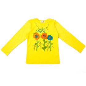 Джемпер для девочки, рост 92 см, цвет жёлтый, принт цветы 27016_М