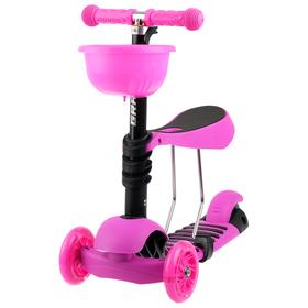 Самокат детский 3 в 1 GRAFFITI Buggi, цвет розовый