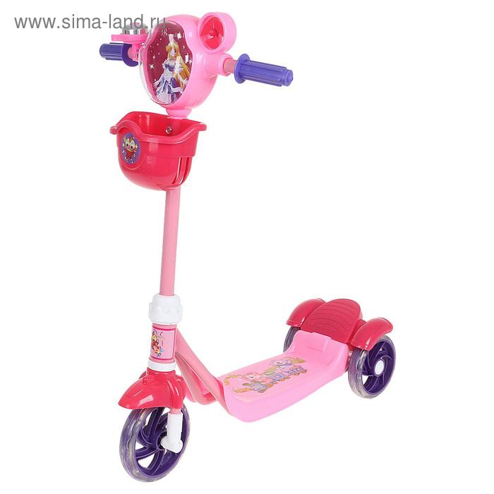 Самокат стальной ОТ-3636, три колеса PVC, d=120 мм, с корзиной, цвет: розовый, до 25 кг