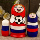 Матрёшка «Футболист», синий платок, 3 кукольная, 11 см